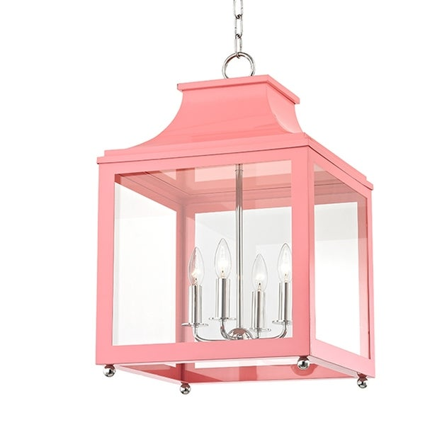 Mitzi by Hudson Valley Leigh 4-light Polished Nickel Large Pendant with Pink Accents, Clear Glass