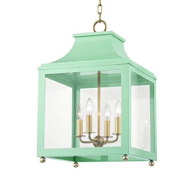 Mitzi by Hudson Valley Leigh 4-light Aged Brass Large Pendant with Mint Accents, Clear Glass