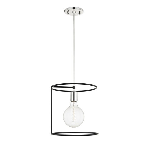 Mitzi by Hudson Valley Dana 1-light Polished Nickel Pendant with Black Accents