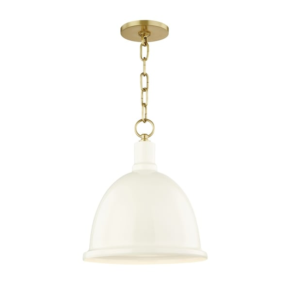 Mitzi by Hudson Valley Blair 1-light Aged Brass Small Pendant, Cream Metal