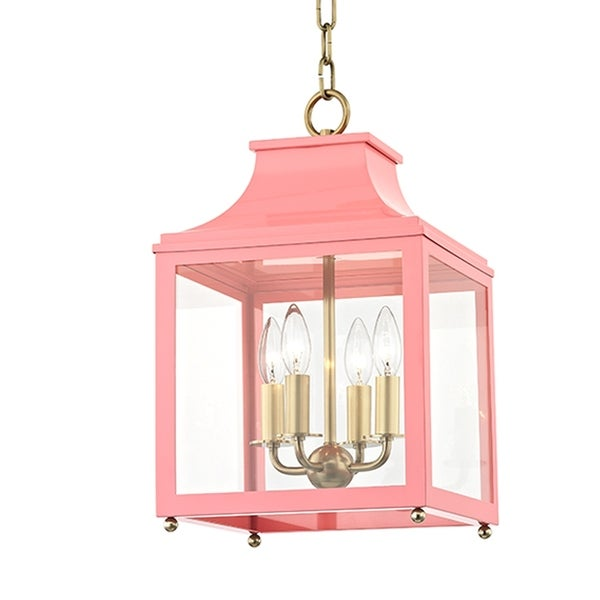 Mitzi by Hudson Valley Leigh 4-light Aged Brass Small Pendant with Pink Accents, Clear Glass