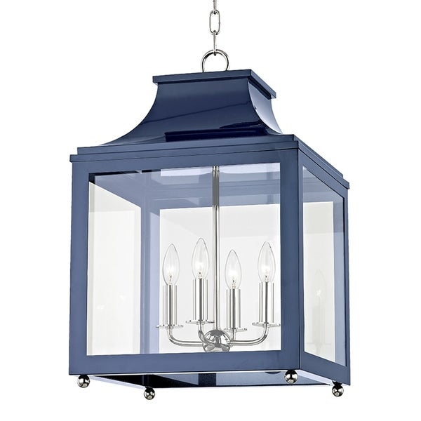 Mitzi by Hudson Valley Leigh 4-light Polished Nickel Large Pendant with Navy Accents, Clear Glass