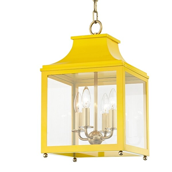 Mitzi by Hudson Valley Leigh 4-light Aged Brass Small Pendant with Marigold Accents, Clear Glass