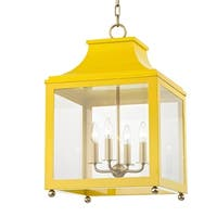 Mitzi by Hudson Valley Leigh 4-light Aged Brass Large Pendant with Marigold Accents, Clear Glass