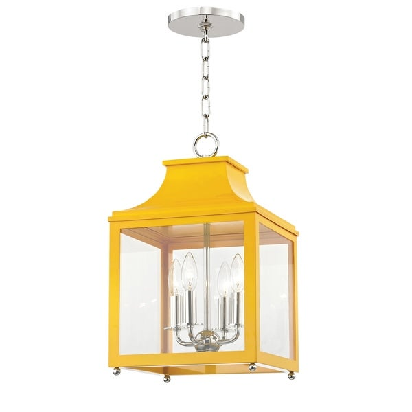 Mitzi by Hudson Valley Leigh 4-light Polished Nickel Small Pendant with Marigold Accents, Clear Glass