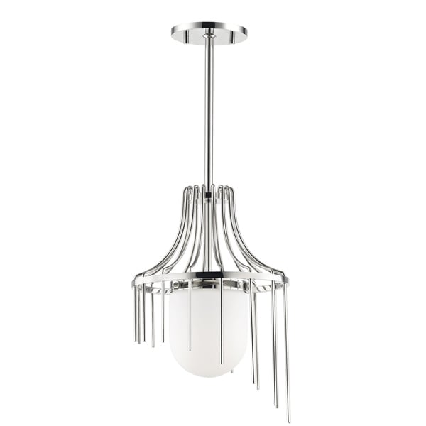 Mitzi by Hudson Valley Kylie 1-light Polished Nickel Small Pendant, Opal Matte Glass