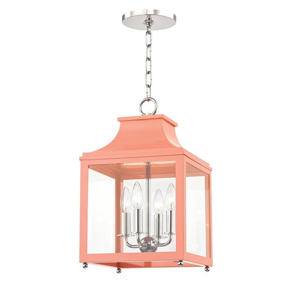 Mitzi by Hudson Valley Leigh 4-light Polished Nickel Small Pendant with Pink Accents, Clear Glass