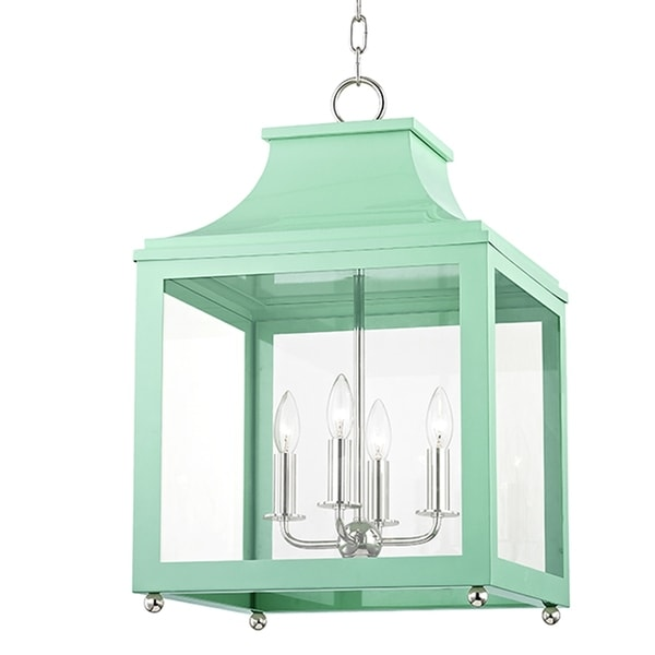 Mitzi by Hudson Valley Leigh 4-light Polished Nickel Large Pendant with Mint Accents, Clear Glass