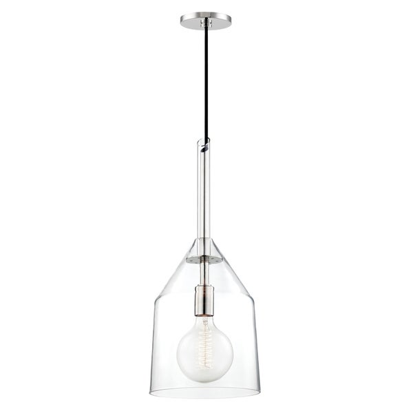 Mitzi by Hudson Valley Sloan 1-light Polished Nickel Large Pendant, Clear Glass