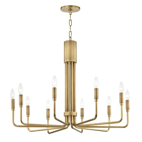 Mitzi by Hudson Valley Brigitte 10-light Aged Brass Pendant