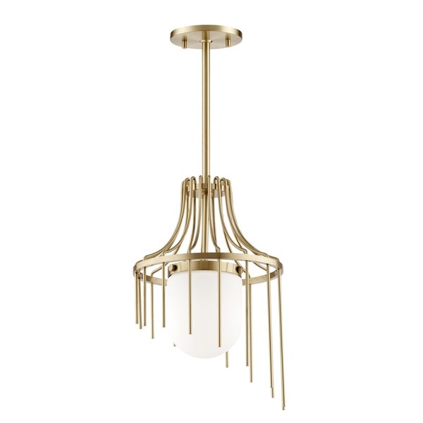 Mitzi by Hudson Valley Kylie 1-light Aged Brass Small Pendant, Opal Matte Glass