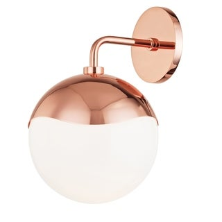 Mitzi by Hudson Valley Ella 1-light Polished Copper Wall Sconce, Opal Glossy Glass