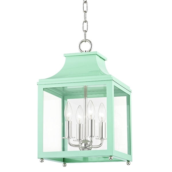 Mitzi by Hudson Valley Leigh 4-light Polished Nickel Small Pendant with Mint Accents, Clear Glass
