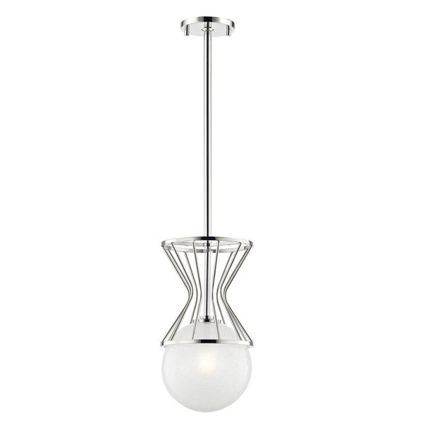 Mitzi by Hudson Valley Petra 1-light Polished Nickel Pendant, Clear Crackel Glass
