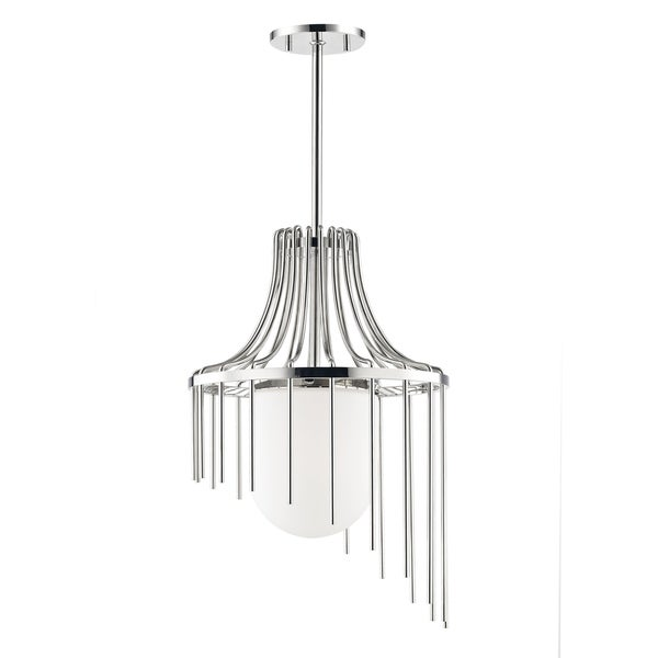 Mitzi by Hudson Valley Kylie 1-light Polished Nickel Large Pendant, Opal Matte Glass