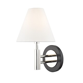 Mitzi by Hudson Valley Robbie 1-light Polished Nickel Wall Sconce with Black Accents, Off White Shade