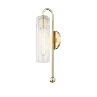 Mitzi by Hudson Valley Skye 1-light Aged Brass Wall Sconce, Clear Crackle Glass