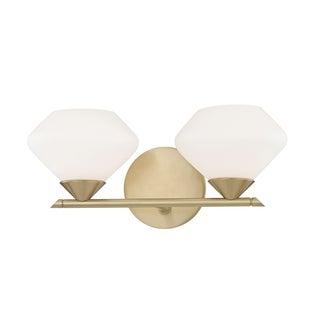 Mitzi by Hudson Valley Valerie 2-light Aged Brass Bath Light, Opal Matte Glass