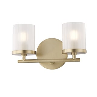 Mitzi by Hudson Valley Ryan 2-light Aged Brass Bath Light, Clear Frosted Glass