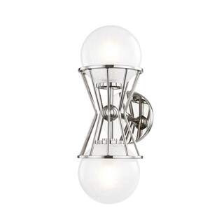Mitzi by Hudson Valley Petra 2-light Polished Nickel Wall Sconce, Clear Crackel Glass