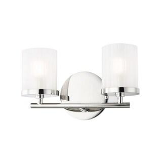 Mitzi by Hudson Valley Ryan 2-light Polished Nickel Bath Light, Clear Frosted Glass