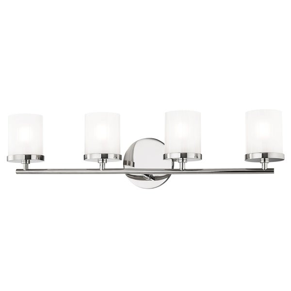 Mitzi By Hudson Valley Ryan 4 Light Polished Nickel Bath Light, Clear  Frosted Glass