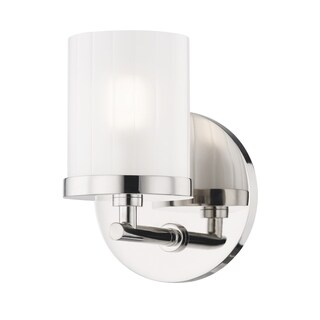 Mitzi by Hudson Valley Ryan 1-light Polished Nickel Bath Light, Clear Frosted Glass