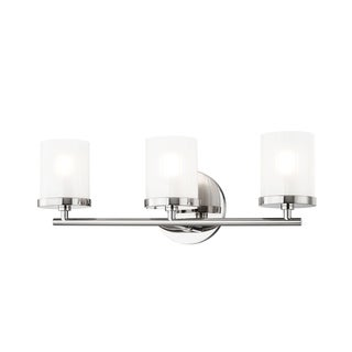 Mitzi by Hudson Valley Ryan 3-light Polished Nickel Bath Light, Clear Frosted Glass