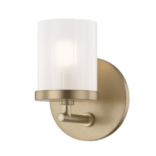 Mitzi by Hudson Valley Ryan 1-light Aged Brass Bath Light, Clear Frosted Glass