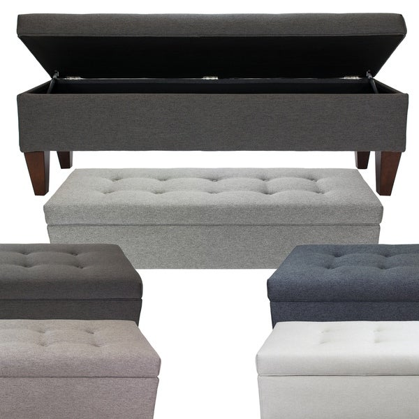 Fabric Storage Bench Microfiber Button Tufted Bedroom Seat: Shop Brooke CORONA Fabric/Wood 10 Button-tufted Long