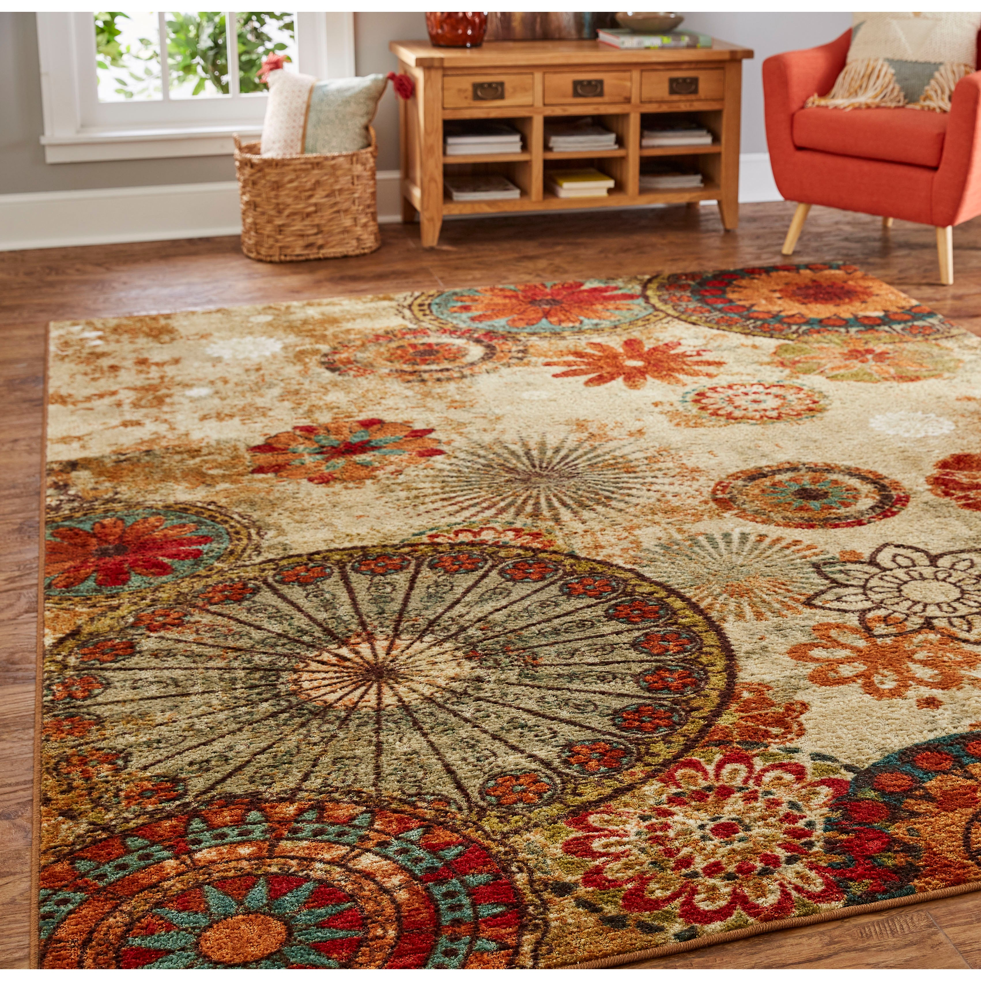 Mohawk Home Traditional Jewel Rug: Mohawk Home Strata Caravan Medallion Multicolor Area Rug