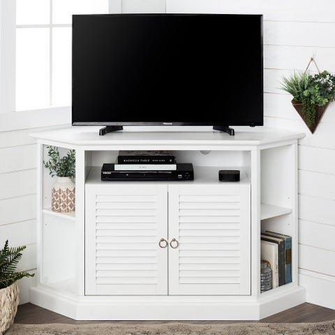Havenside Home Santa Monica 52-inch White Wood Corner TV Stand