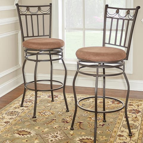 Copper Grove Olympia Brown Upholstered Powder-coated Bar Stool