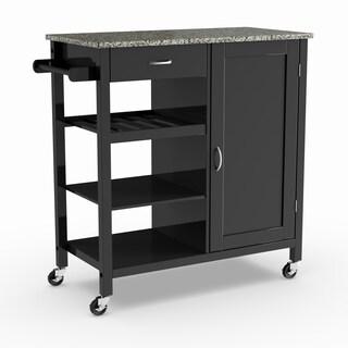Maison Rouge Ayres Wooden 3-shelf Kitchen Cart (Black)