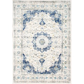The Gray Barn Peaceful Acres Traditional Persian Vintage Fancy Area Rug (Blue - 5 Round)