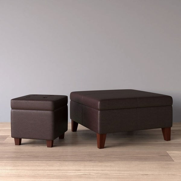 Homepop Bonded Leather Square Storage Ottoman Coffee Table With Wood Legs Black Mimbarschool Com Ng