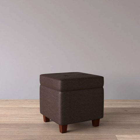 HomePop Square Tufted Faux Leather Storage Ottoman