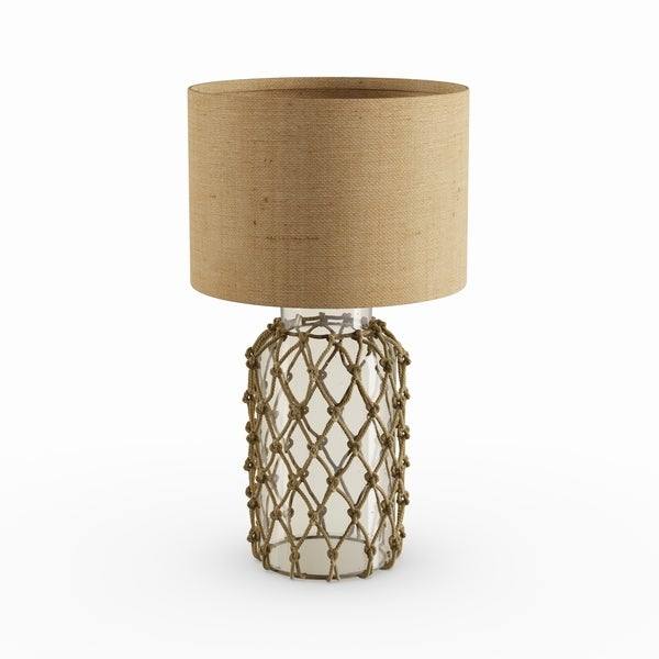 Havenside Home Myrtle Seeded Gl Table Lamp With Rope Net
