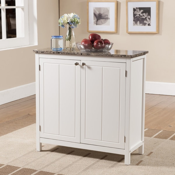 Porch & Den Izard White and Faux Marble Kitchen Island Cabinet