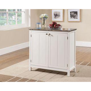Porch & Den Izard White and Faux Marble Kitchen Island Cabinet