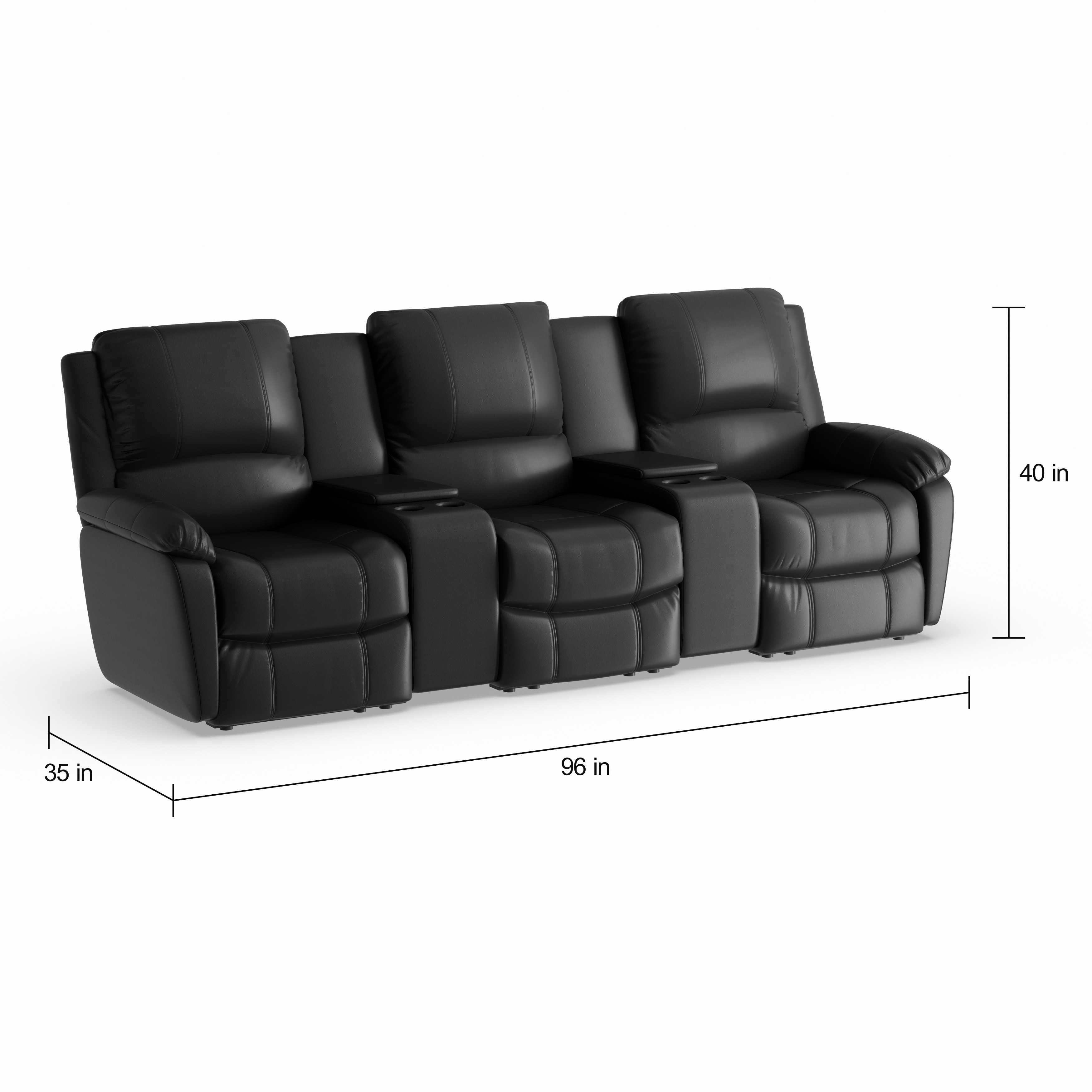 Strick & Bolton Wyeth 3-seat Black Leather Reclining Seating Unit