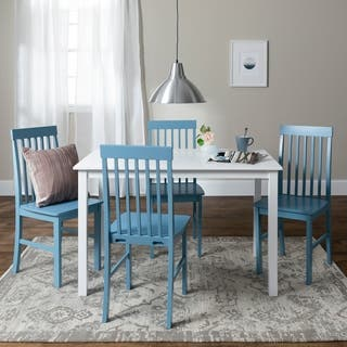 Havenside Home Bethune 5 Piece White And Powder Blue Dining Set