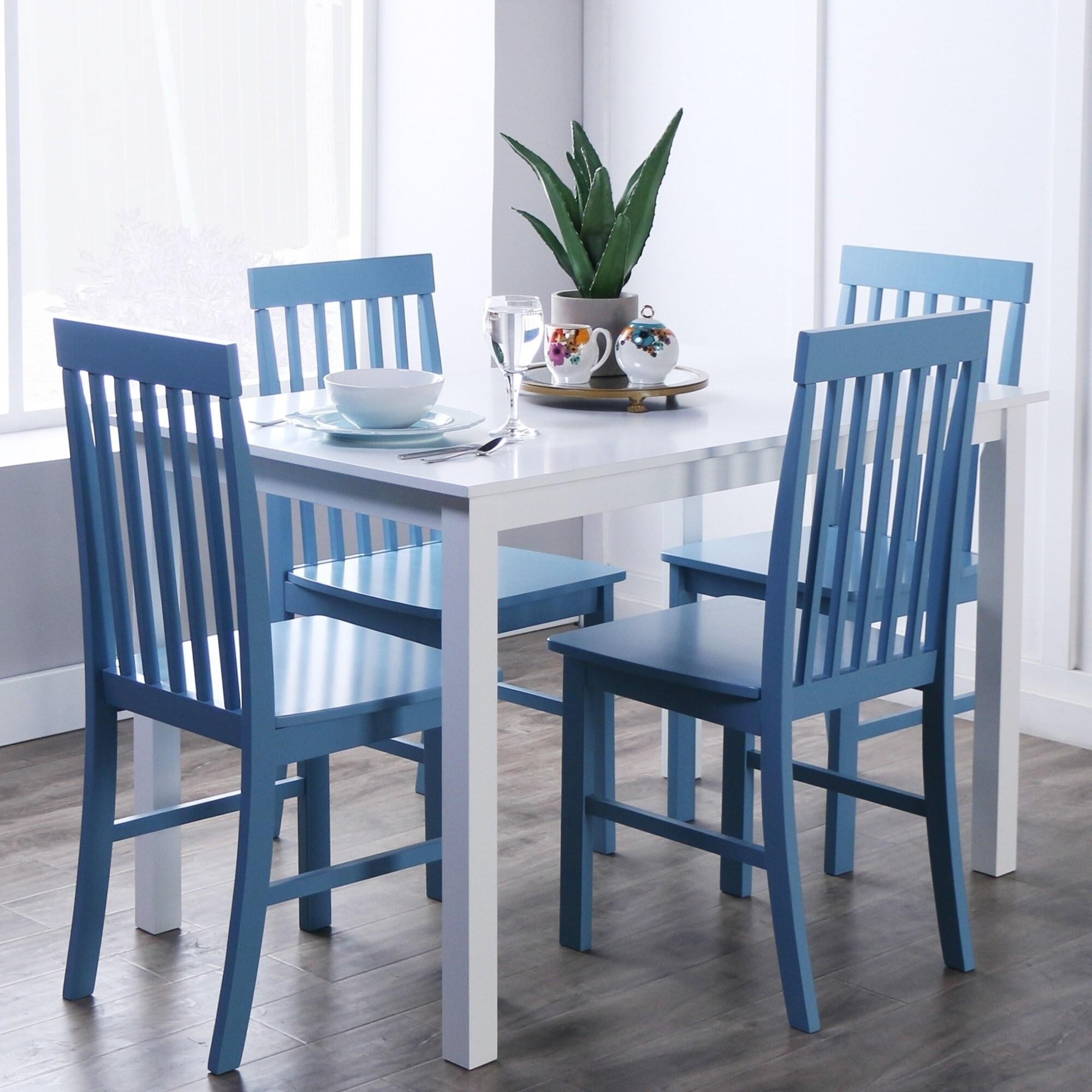 Stupendous Porch Den Pompton 5 Piece White And Powder Blue Dining Set Alphanode Cool Chair Designs And Ideas Alphanodeonline