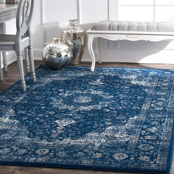 Maison Rouge Khalil Traditional Persian Vintage Dark Blue Area Rug (8u0026#x27;  X