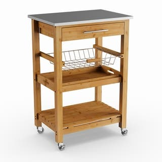 Havenside Home Surfside Bamboo Kitchen Cart With Stainless Steel Top
