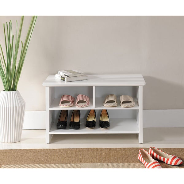 Shop Porch Amp Den Candace White Wood Shoe Bench On Sale