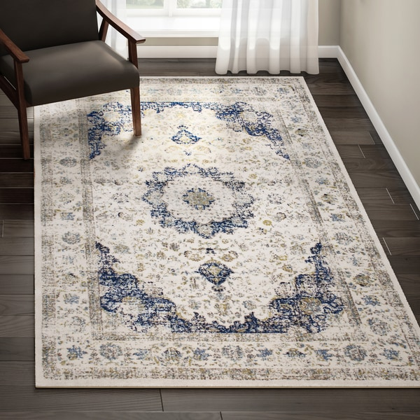 Maison Rouge Oryan Traditional Persian Vintage Blue Square Area Rug 8 X27