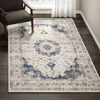 Maison Rouge Oryan Traditional Persian Vintage Blue Square Area Rug - 8' Square