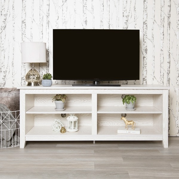 """Havenside Home Jacksonville 58"""" TV Stand Console - White Wash - 58 x 16 x 24h"""