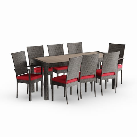 Havenside Home Gion 9-piece Red Outdoor Dining Set